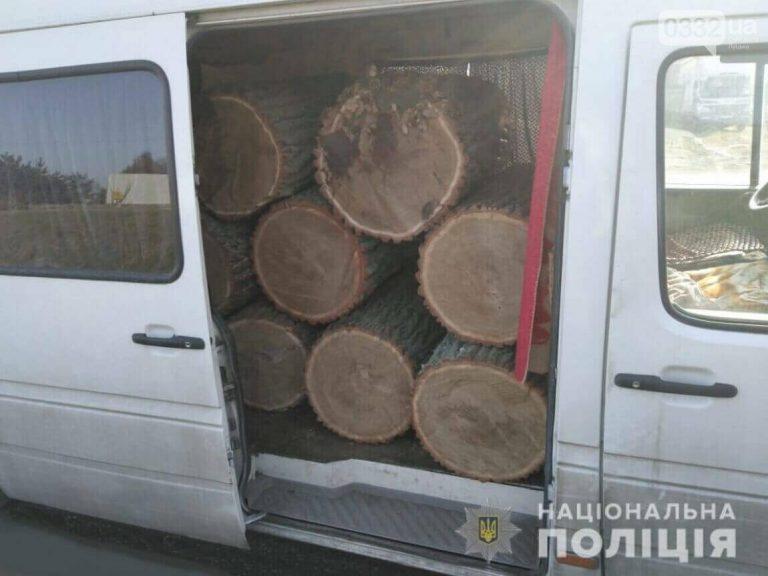 Біля Луцька спіймали мікроавтобус з колодами дуба